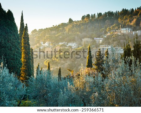 Typical Tuscany landscape near Florence. Italy - stock photo