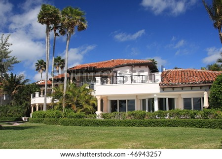 Typical upscale island living in South Florida on Fisher Island - stock photo