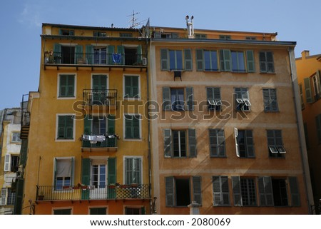 Typical urban apartment building - Nice, France.