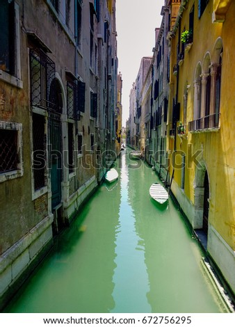 Typical Venice Canal with Gondolas