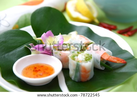 "Typical Vietnamese food?""summer roll"" - stock photo"