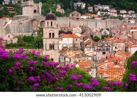 Typical view of Dubrovnik scenery, surrounded by trees and flowers. Croatia. - stock photo