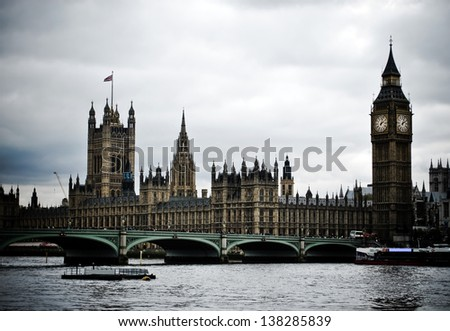 Typical view of London, Houses of Parliament - stock photo