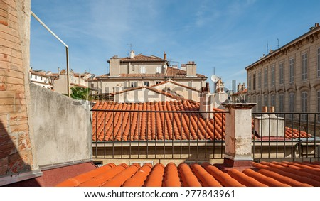 Typical view of the houses and roofs in the old town of Marseille in South France - stock photo