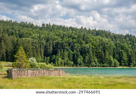 """Typical view of the lake """"Walchensee"""" near Munich in Bavaria - stock photo"""