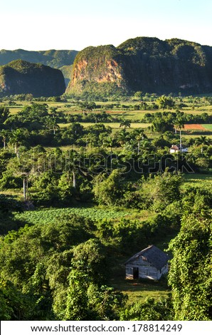 Typical view of Valle de Vinales with mogotes in Cuba - stock photo