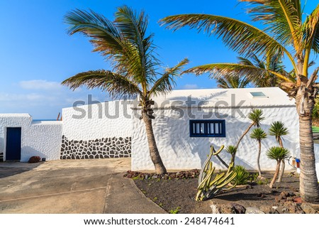 Typical white Canarian house with palm trees on El Golfo beach, Lanzarote, Canary Islands, Spain - stock photo