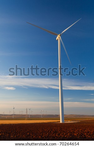 Typical windmill or aerogenerator of aeolian energy - stock photo