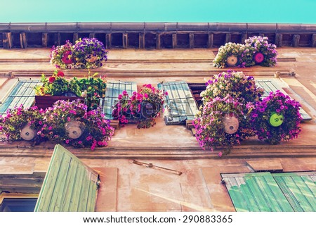 Typical Windows of medieval House with open wooden shutters, decorated with fresh Flowers, Provence, France. Retro vintage instagram filter. - stock photo