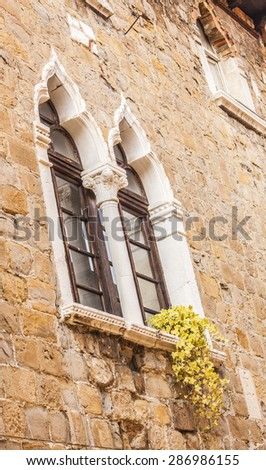 Typical windows of the Istrian-Venetian town, Muggia, on the border with Slovenia