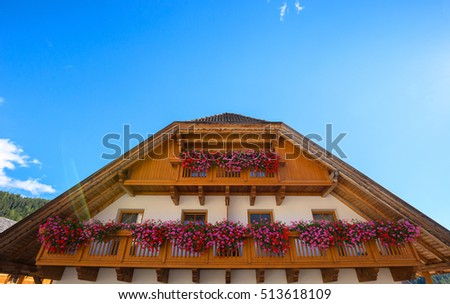 Typical wooden balcony in Sudtirol,Italy