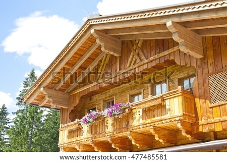 Typical wooden balcony in Tirol, Austria