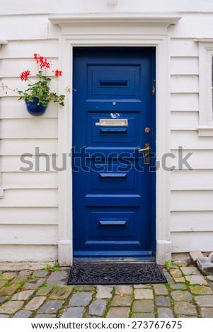Typical wooden door in Bergen, Norway - stock photo