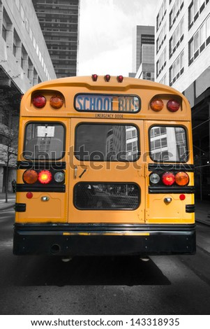 Typical yellow New York style school bus at New York City, USA, United States of America  - stock photo