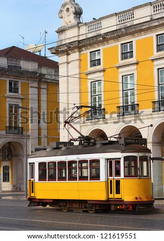 Typical yellow tram of Lisbon, Portugal - stock photo