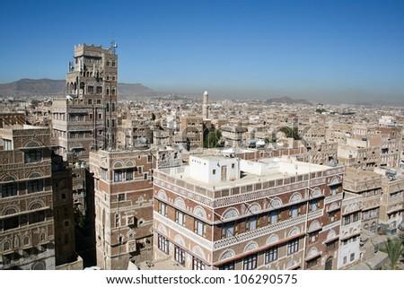 Typical yemeni architecture, Sanaa, Yemen. - stock photo