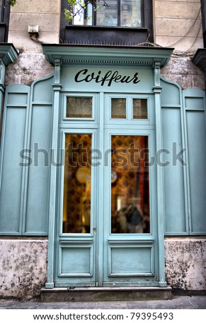 Typically parisian Hairdressing salon (coiffeur is not a brand name, it just means Hairdresser in French, so no copyright issue) - stock photo