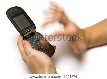 Typing a SMS - stock photo