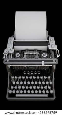 Typing Machine isolated on black background. High resolution 3d