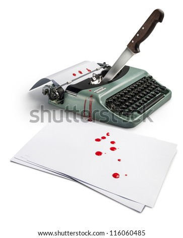 typing machine with some bloody paper and a knife - stock photo