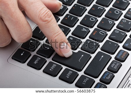 Typing on a laptop keyboard