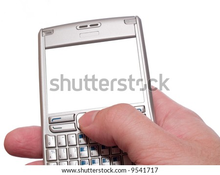 typing on personal digital assistant with empty frame isolated on white - stock photo