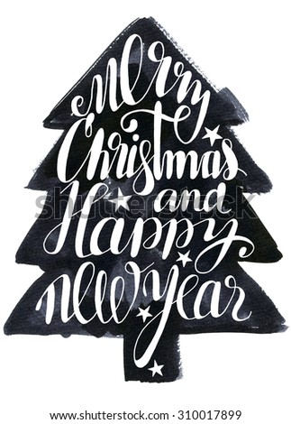 Typographic Christmas tree. Merry Christmas lettering and Christmas tree silhouette. Merry Christmas typographic design. Hand lettering and calligraphy design. Lettered type design.  - stock photo