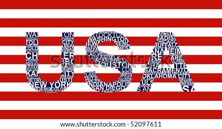 Typographic illustration with text USA - stock photo