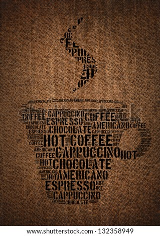 Typographic symbol cup of coffee printed on burlap - stock photo