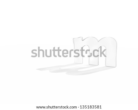 typography 3d render isolated on white background - stock photo