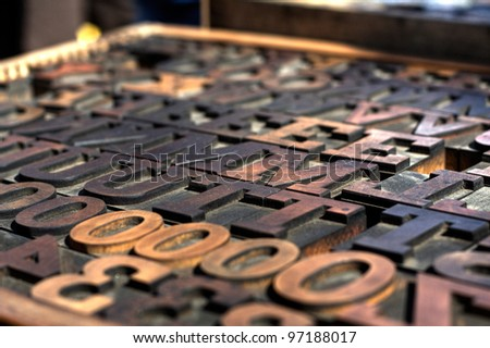 Typography Wood Block Stamps - stock photo