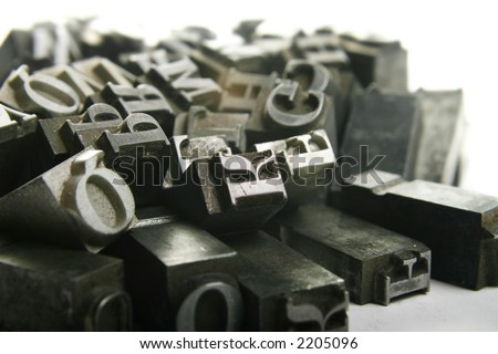 Typography workshop .Old Metallic Letters for Printing - stock photo