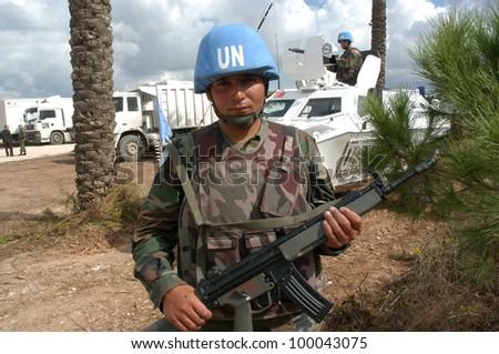 TYR, LEBANON-OCTOBER 21: Unidentified Turkish UN vehicle on patrol on October 21, 2006 in Tyr, Lebanon - stock photo