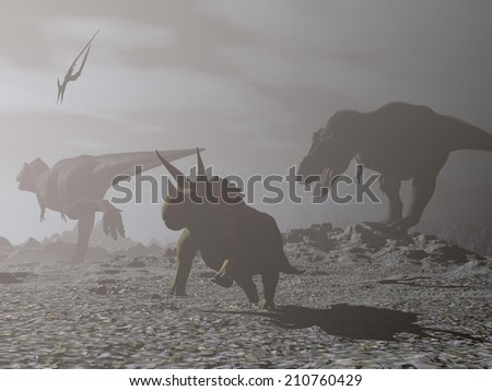 Tyrannosaur and triceratops dinosaurs during impact winter just after asteroid impacted earth surface during cretaceous period - 3D render - stock photo
