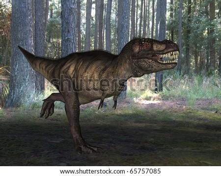 tyrannosaur attack - stock photo