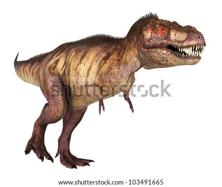 tyrannosaur red face walking - stock photo