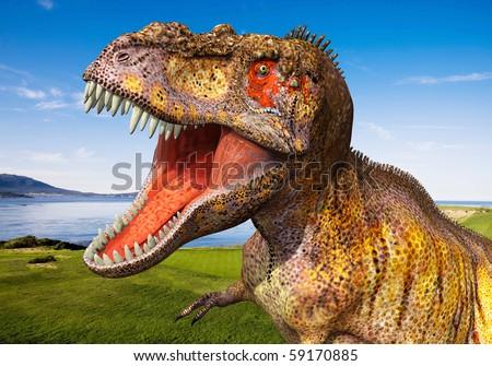 tyrannosaurus big head - stock photo