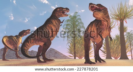 Tyrannosaurus Dinosaur Wilderness - Tyrannosaurus Rex dinosaurs have a growling session in the Cretaceous Period. - stock photo