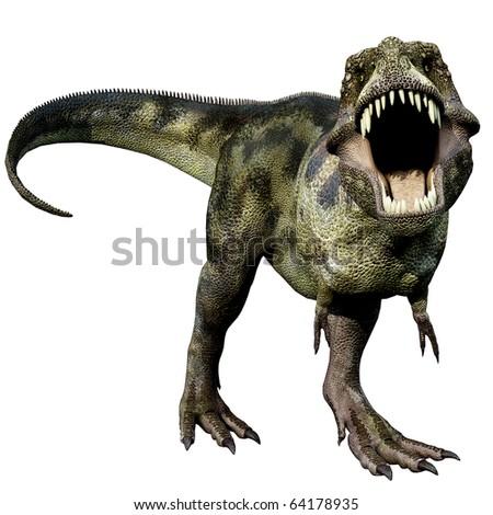 Tyrannosaurus green defend - stock photo