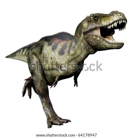 Tyrannosaurus green running - stock photo