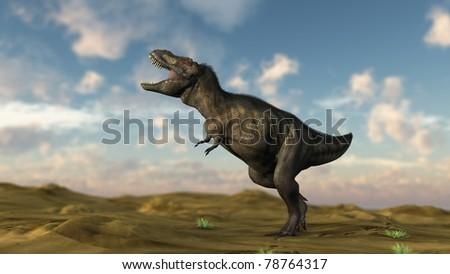 tyrannosaurus in desert - stock photo