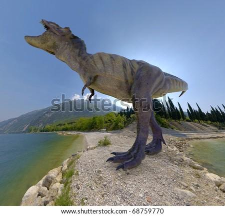 tyrannosaurus island - stock photo