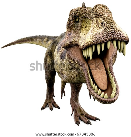 tyrannosaurus looking for food - stock photo