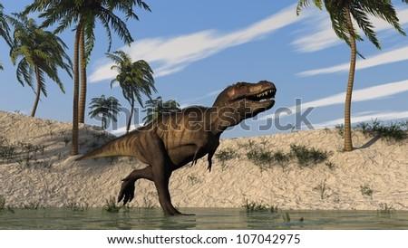 tyrannosaurus on shore - stock photo