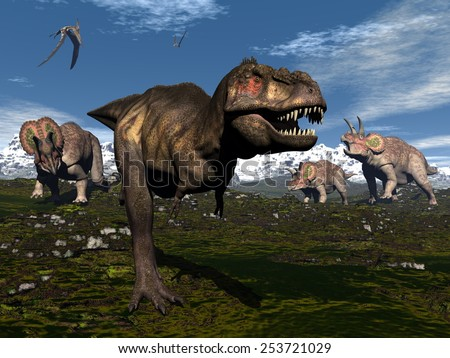 Tyrannosaurus rex attacked by three triceratops dinosaurs in the mountain - 3D render - stock photo