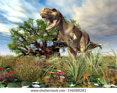 Tyrannosaurus Rex Computer generated 3D illustration - stock photo