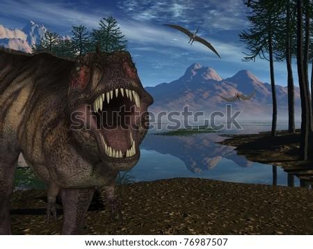 Tyrannosaurus Rex - 3D Dinosaur - stock photo