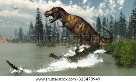 Tyrannosaurus rex dinosaur attacked by deinosuchus crocodile near calamite trees and nipa plants by day - 3D render - stock photo