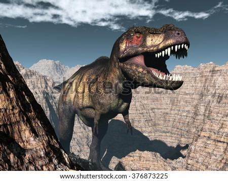Tyrannosaurus rex dinosaur roaring - 3D render - stock photo