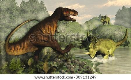 Tyrannosaurus rex fighting against styracosaurus dinosaur next to epicea and nipa vegetation by day  - 3D render - stock photo